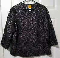 Ruby Rd Woman Size 20W Jacket Black Silver Metallic Full Zip Pockets Great Cond.