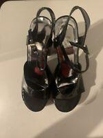 New Ellie Black Patent Leather Chunky Heel Sandals  Platform Shoes Adult Size 8