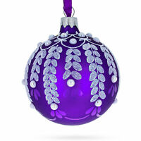 White Vines on Purple Glass Ball Christmas Ornament