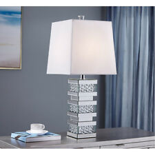 """1 LIGHT 27"""" MIRRORED MODERN CRYSTALS LIVING ROOM BEDROOM WHITE SHADE TABLE LAMP"""