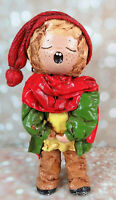 "Vintage 11"" Paper Mache Christmas Caroler Blonde Boy Red Green"