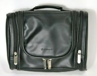 Foray Unisex Toiletry Case Soft Black Leather Hanging Cosmetic Overnight