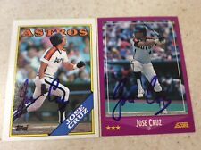 Lot Of 2 Houston Astros Jose Cruz Autographed Baseball Cards