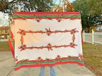 POINSETTIAS HOLLY Trim Christmas TABLE CLOTH Red Green 58 X 98 Poly-Cotton