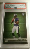 2018 Lamar Jackson Panini RC Rookie (PSA) 10 GEM MINT SP Canvas Card.