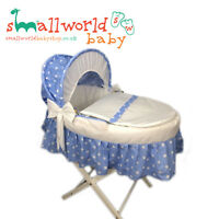 Personalised Boys Blue Star Skirted Moses Basket Cover Set (NEXT DAY DISPATCH)