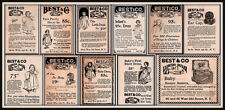 AD LOT OF 11 1890 'S  ADS BEST CO BABY DRESSES GOWNS HATS HAMPER