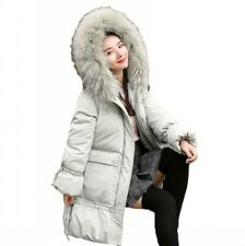 Winter Women's Long Jacket Casual Duck Down Thick Coat Fur Collar Hooded Parka L