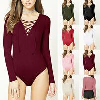 Women's Long Sleeve V Neck Stretch Lace-up Bodysuit Blouse Leotard Top T-shirt