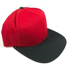 Made in USA Vintage 90s Blank Red Black Snapback Hat Cap Lid NOS DS Deadstock