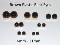BROWN EYES with PLASTIC BACKS - Teddy Bear Making Soft Toy Doll Animal Craft
