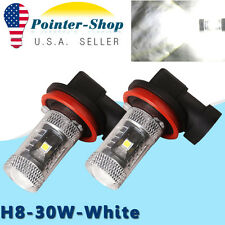 2Pcs High Power 30W H8 White 6000K DRL Fog Driving LED Light Bulbs 12V-24V