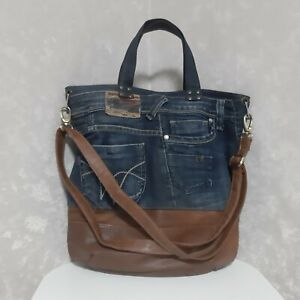 Handmade Large Hobo denim bag Patchwork tote bag of jeans Casual market purse