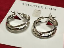 Charter Club Silver Gray Tone Crystal White Pearl Simulation Earrings A4