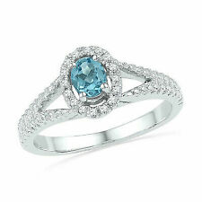 10kt White Gold Womens Oval Lab-created Blue Sapphire Solitaire Diamond Ring