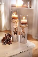 Kerzenhalter Dekosäule Windlicht Holz 2er Set Shabby-Look Stern Kerzenständer