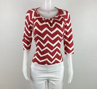 St. John Sport Women Size S Red White 3/4 Sleeves Blouse Top Shirt