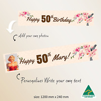 Fifty 50th Birthday Flowers Fabric Party Banner Personalised Decoration Supplies