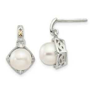 Sterling Silver w/ 14k Accent FW Cultured Pearl & Diamond Earrings Shey Couture