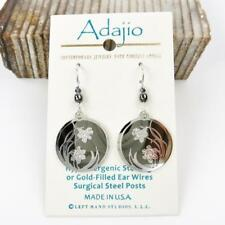 Adajio Earrings Shiny Black Hematite Disc Shiny Silver Tone Daffodil in Circle