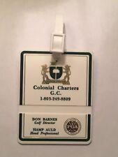 Vintage Rare Colonial Charters Golf Club Golf Bag Tag - Myrtle Beach, Sc