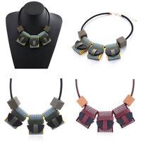 Fashion Women Statement Geometric Pendant Chain Choker Chunky Bib Charm Necklace
