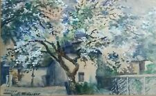 Gouache aquarelisée jardin de campagne pommier en fleurs. Impressionniste. Suède
