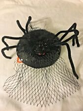 Claire's Halloween Black Spider Veil Hat Fascinator Clip On One Size NWT