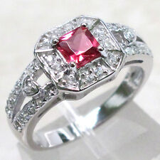 PRECIOUS RUBY 925 STERLING SILVER MICRO PAVE RING SIZE 9