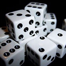 100Pcs 8mm White Dice Black Pips Dots for Board Games Casino Party Favors Toy
