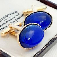 Vintage - CZECH Royal Blue Silver Foil Glass  - Oval Gold Plated Cufflinks
