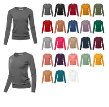 Fitted Crew Neck Long Sleeve Pullover Classic Sweater
