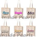 Personalised Name Tote Canvas Bag Wedding Bridesmaid Teacher Christmas Gift Bag