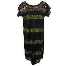Black Crochet Manta Mexican Tunic Huipil Dress Silk Threads Embroidery Medium