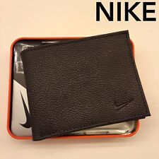 NIKE MEN GENUINE DARK BROWN PASSCASE BIFOLD LEATHER WALLET NIB