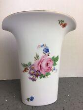 """Hutschenreuther Porcelain Floral Fluted Vase Made in Germany 7.5"""" T Vbox9"""