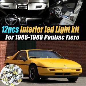 12pc Super White Car Interior LED Light Bulb Kit for 1986-1988 Pontiac Fiero