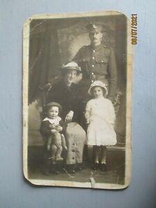 WW1 ROYAL ARTILLERY SOLDIER & FAMILY WITH TEDDY BEAR PORTRAIT POSTCARD