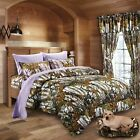 7 pc White Snow Camo Mixed Colors Full Comforter with Lavender Full size Sheets