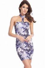 Minikleid S 34 36 Blumenmuster T-Ausschnitt  Abendkleid Partykleid Freizet Kleid