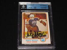 ANDY MOOG AUTOGRAPHED 1981-82 O-PEE-CHEE ROOKIE CARD-JSA/BGS SLAB