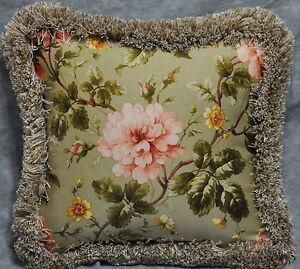 "Pillow made w Ralph Lauren Yorkshire Rose Floral Green Fabric trim fringe 12"""