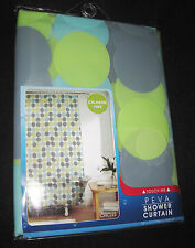 PEVA - Maytex Mills - Aqua, Green and Gray Circles on clear SHOWER CURTAIN