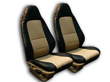 BMW Z3 1996-2002 BLACK/BEIGE IGGEE S.LEATHER CUSTOM FIT FRONT SEAT COVER