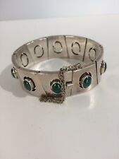 Vintage sterling and malachite Mexican bracelet