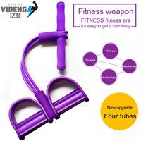 Leg Arm Resistance Training Band Elastic Pull Up Body Pedal Exercise Yoga 4 Tube