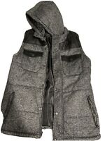 Men's Yoki Outerwear Collection Gray/Black Puff Jacket With Hoodie (Size M)
