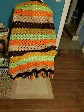 "Vintage Retro Handmade Crochet  Throw Afghan Striped W/ Fringe 6'x3'6"""