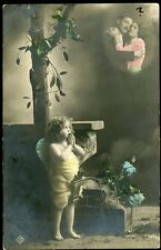 FAIRY with HANDS FOLDED IN PRAYER w MOTHER + FATHER 1911 RPPC Photo Postcard