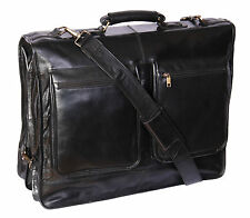 Genuine Luxury leather suit carrier garment dress travel weekend cabin bag Black